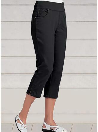 Solid Capris Casual Vacation Plus Size Pants