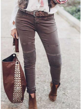 Solid Long Vintage Plus Size Pocket Button Denim & Jeans