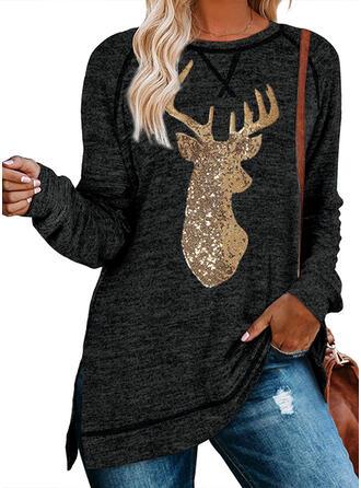 Sequins Round Neck Long Sleeves Christmas Sweatshirt