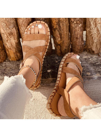 Women's PU Flat Heel Sandals Slippers Round Toe With Buckle Braided Strap shoes