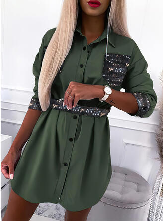 Sequins Long Sleeves Sheath Above Knee Casual Shirt Dresses