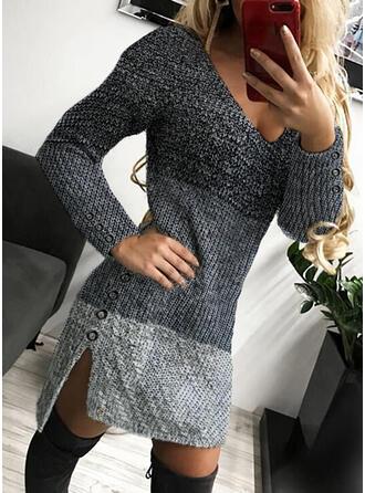 Geblockte Farben V-Ausschnitt Freizeit Lang Eng Pulloverkleid
