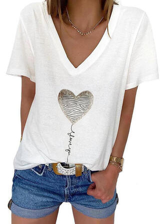 Figure Heart Print V-Neck Short Sleeves T-shirts