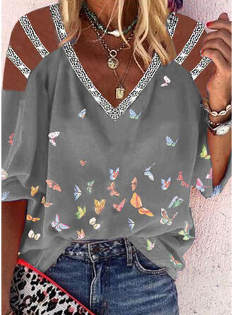 Animal Print Sequins Cold Shoulder 3/4 Sleeves Casual Blouses