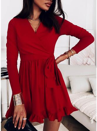 Solid Long Sleeves A-line Above Knee Little Black/Elegant Wrap/Skater Dresses