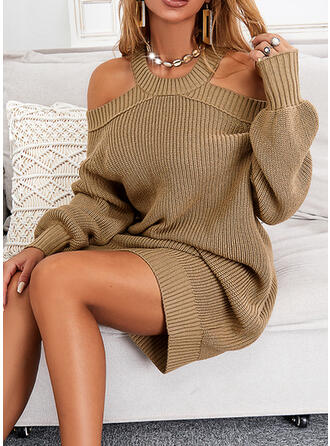 Solid Long Sleeves Cold Shoulder Sleeve Shift Knee Length Casual Sweater Dresses