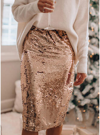 Polyester Sequins Sequins Knee Length Pencil Skirts
