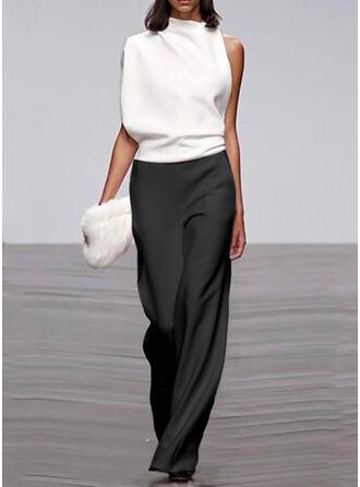 Geblockte Farben Stehkragen Ärmellos Lässige Kleidung Elegant Overall