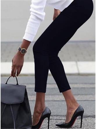 Einfarbig Übergröße Beschnitten Lässige Kleidung Sexy Dünn Hosen