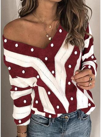 Geblockte Farben Perlen V-Ausschnitt Freizeit Weihnachten Pullover