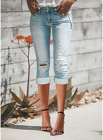 Solid Denim Capris Casual Plus Size Pocket Ripped Pants Denim & Jeans