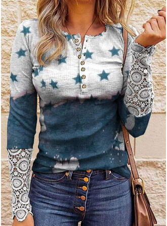 Print Lace Round Neck Long Sleeves Casual Blouses