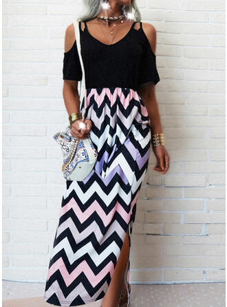 Striped Short Sleeves A-line Skater Casual/Vacation Maxi Dresses