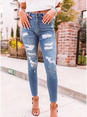Shirred Ripped Elegant Sexy Denim & Jeans