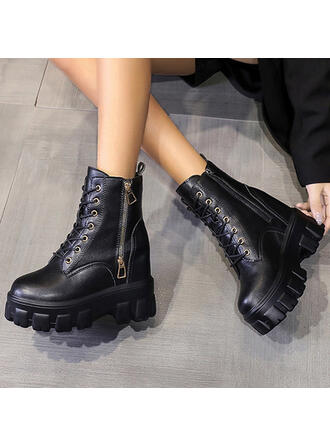 Women's Leatherette Low Heel Ankle Boots Round Toe With Zipper Lace-up Solid Color shoes