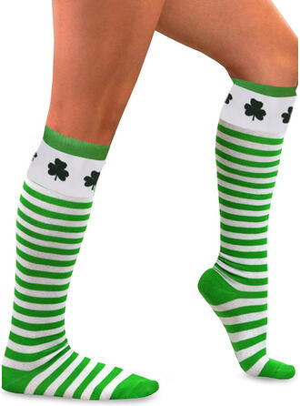Striped/Leaves Calf Socks/Unisex/St. Patrick's Day Socks
