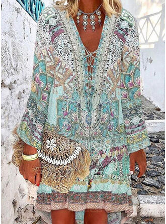 Floral Print Strap V-Neck Fresh Plus Size Cover-ups Swimsuits