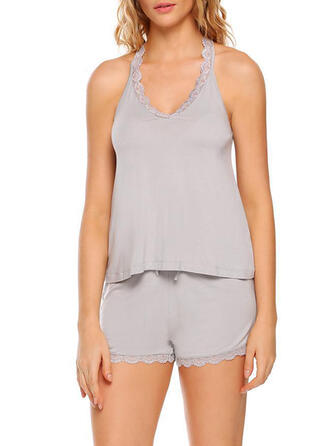 V-Neck Sleeveless Solid Color Sexy Casual Cami & Short Sets