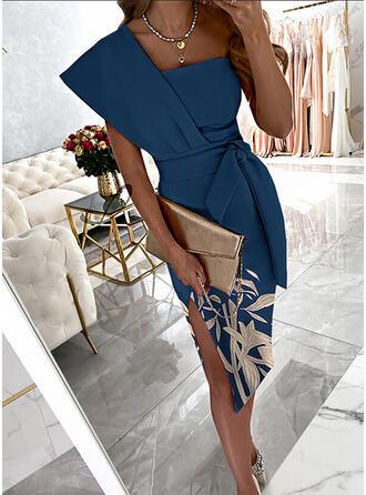 Print/Floral Short Sleeves Sheath Knee Length Party/Elegant Dresses
