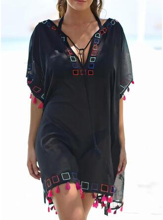 Print/Tassel 1/2 Sleeves Shift Above Knee Casual Tunic Dresses