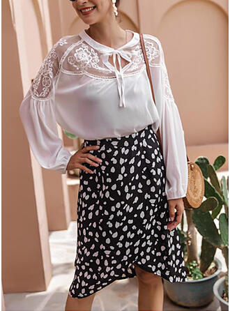 Polyester PolkaDot Above Knee A-Line Skirts