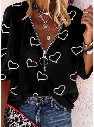 Print Heart V-Neck 1/2 Sleeves Casual Blouses