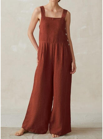 Solid Square Collar Sleeveless Casual Vacation Jumpsuit