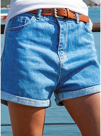 Solid Shirred Plus Size Casual Vintage Shorts Denim & Jeans