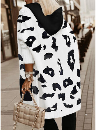 Print Leopard Hooded Casual Cardigan