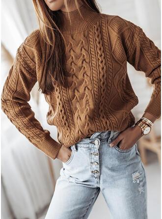 Einfarbig Zopfmuster Grobstrick Stehkragen Freizeit Pullover