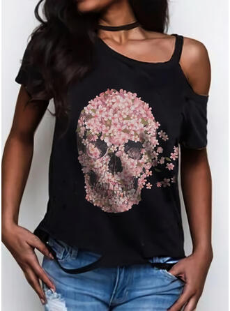 Print Floral One Shoulder Short Sleeves Casual Blouses