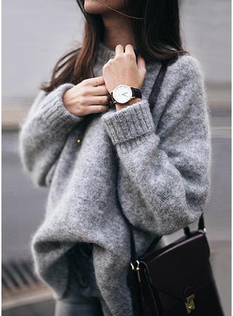 Einfarbig Rundhals Lang Pullover