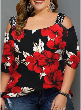 Floral Print Sequins Cold Shoulder 3/4 Sleeves Casual T-shirt