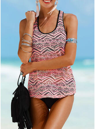Print Strap U-Neck Plus Size Casual Tankinis Swimsuits