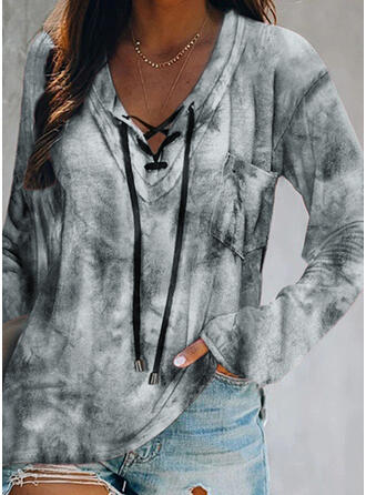 Tie Dye V-Neck Long Sleeves Casual Blouses
