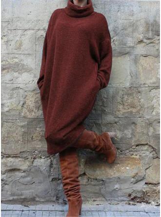 Einfarbig Lange Ärmel Shift Freizeit Midi Kleider