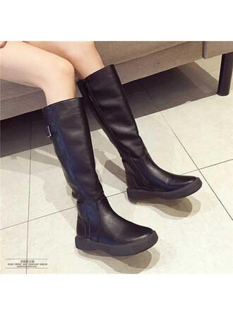 Women's Leatherette Flat Heel Mid-Calf Boots Round Toe With Zipper Solid Color shoes