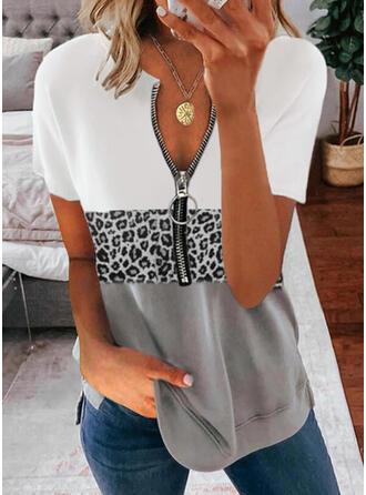 Color Block Leopard V-Neck Short Sleeves Casual Blouses
