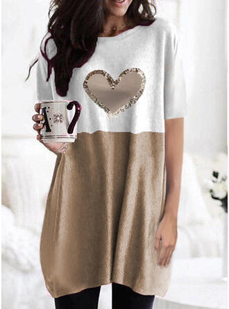 Color Block Heart Print Round Neck Short Sleeves T-shirts
