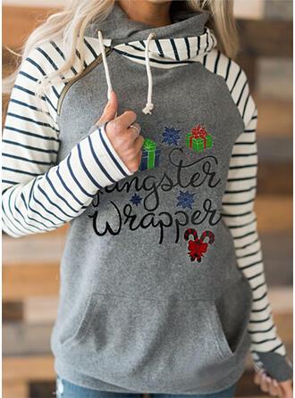 gestreift Figur Lange Ärmel Weihnachts-Sweatshirt