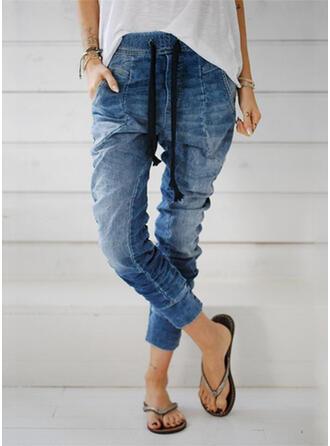Taschen Shirred Übergröße Lange Lässige Kleidung Lange Sportlich Hosen Denim Jeans